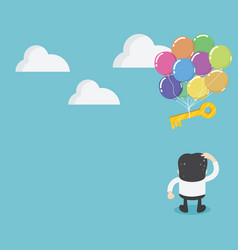 Businessmen standing looking at key with balloons vector