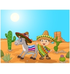 Cartoon mexican boy with donkey in the desert vector