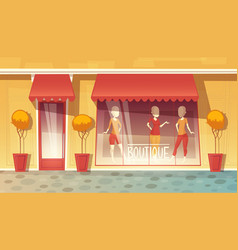 cartoon shop-window of boutique clothing vector image