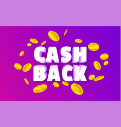 cashback with coins on the purple background vector image