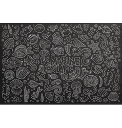 Chalkboard set of marine life objects vector