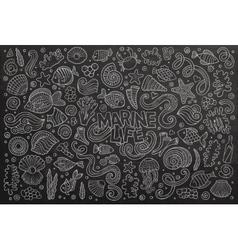 Chalkboard set of marine life objects vector