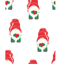 christmas winter pattern with cute gnome vector image