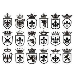 coat arms set heraldic element vector image