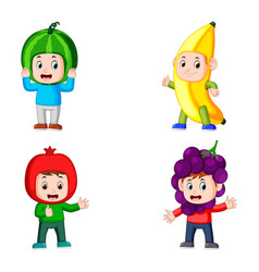 Collection boys pose using the fruits costume vector
