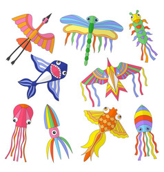 colored kites funny flying animals spring vector image