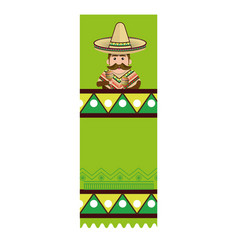 Colorful banner with man with moustache and vector