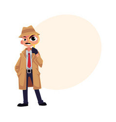 Comic style detective character looking through vector