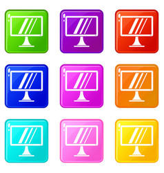 Computer monitor icons 9 set vector