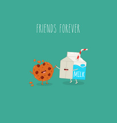 Cookies and milk are friends forever vector
