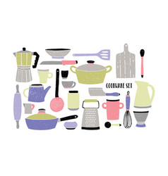 cookware set on white background stylized hand vector image