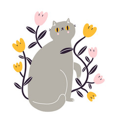 cute gray british kitty with flowers vector image
