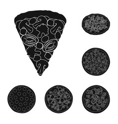 Different pizza black icons in set collection for vector