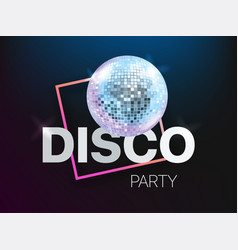 disco party banner layout card template with vector image