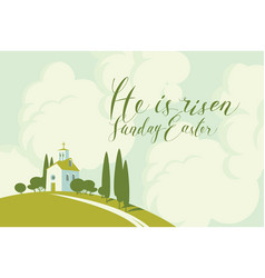Easter card with church on hill sky and clouds vector