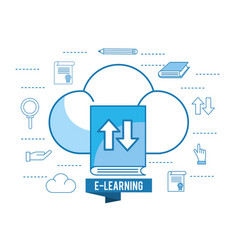 Education book with cloud load and pencil vector