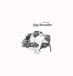 egg benedict with spinach hand draw sketch vector image