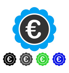 Euro reward seal flat icon vector