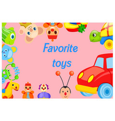 Favorite toys collection around pink background vector