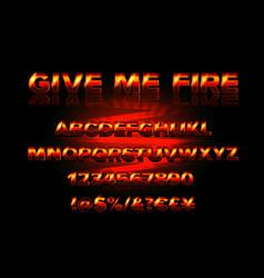 fire burning latin alphabet font vector image