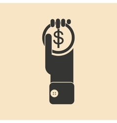 Flat black and white Coin in hand vector