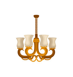 flat icon of antique golden chandelier vector image