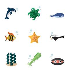 Flat icon sea set of tortoise octopus sea star vector