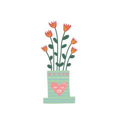 flowering house plant growing in cute flowerpot vector image