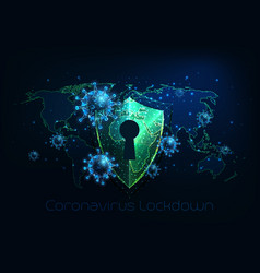 futuristic covid-19 coronavirus global lockdown vector image