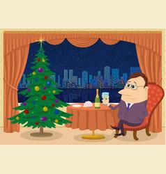 gentleman celebrating christmas vector image