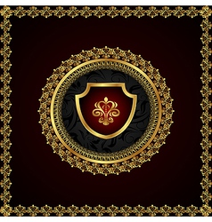 Golden floral frame with heraldic elements vector