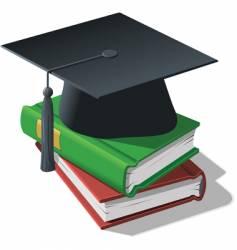 Graduation cap and books vector