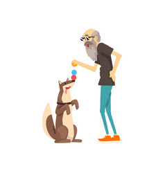 grandpa playing with balls with his dog lonely vector image