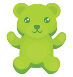 Green gummy bear on white background vector