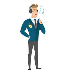 groom listening to music in headphones vector image