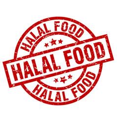 Halal food round red grunge stamp vector