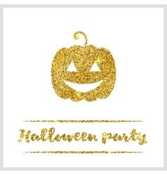 Halloween gold textured pumpkin icon vector