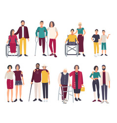 Happy disabled people with friends cartoon flat vector