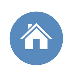 home symbol placed in blue circle vector image