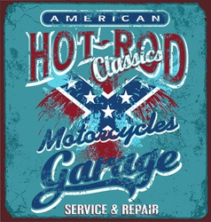 hot rod motorcycle garage vector image