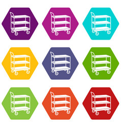 Kitchen trolley icons set 9 vector
