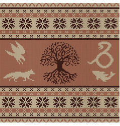 Knit seamless ornament with celtic totem animals vector