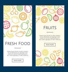 line fruits icons web banner templates vector image