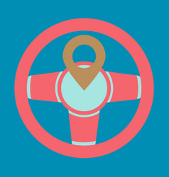 Location icon with steering wheel flat style for vector