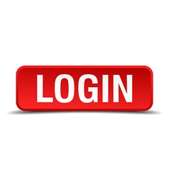 Login red 3d square button isolated on white vector
