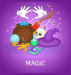 Magician rituals concept cartoon style vector