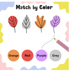 Matching game for kids choose correct colors vector