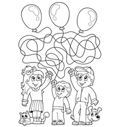Maze 8 coloring book with children vector