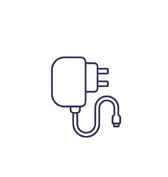 Mobile charger line icon vector