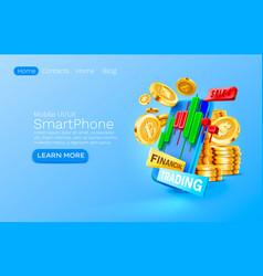 mobile financial trading service financial vector image